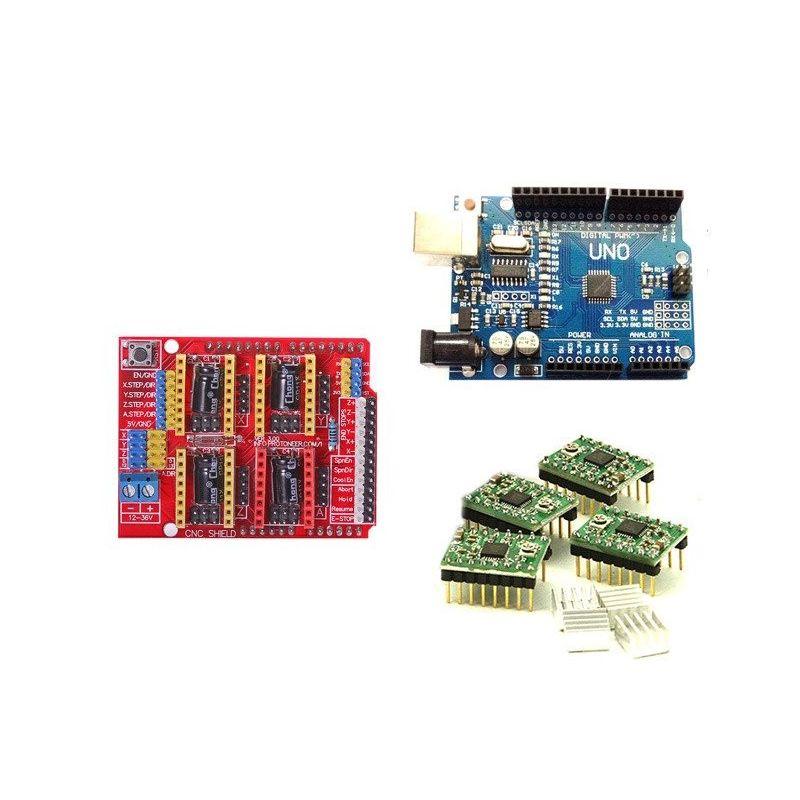 CNC Shield V3 para Arduino + UNO R3 CH340 + 4x A4988 Stepstick 3D Printer Kit Arduino compatível