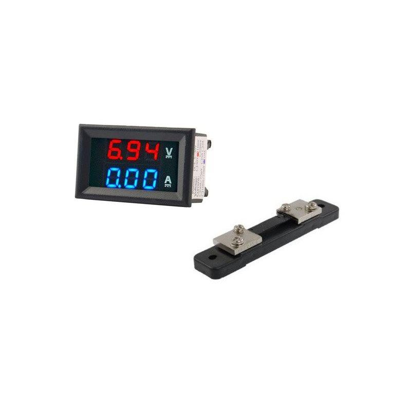 Voltime Amperimeter 100V 50A Shunt Digital DC Vermelho Azul Vermelho