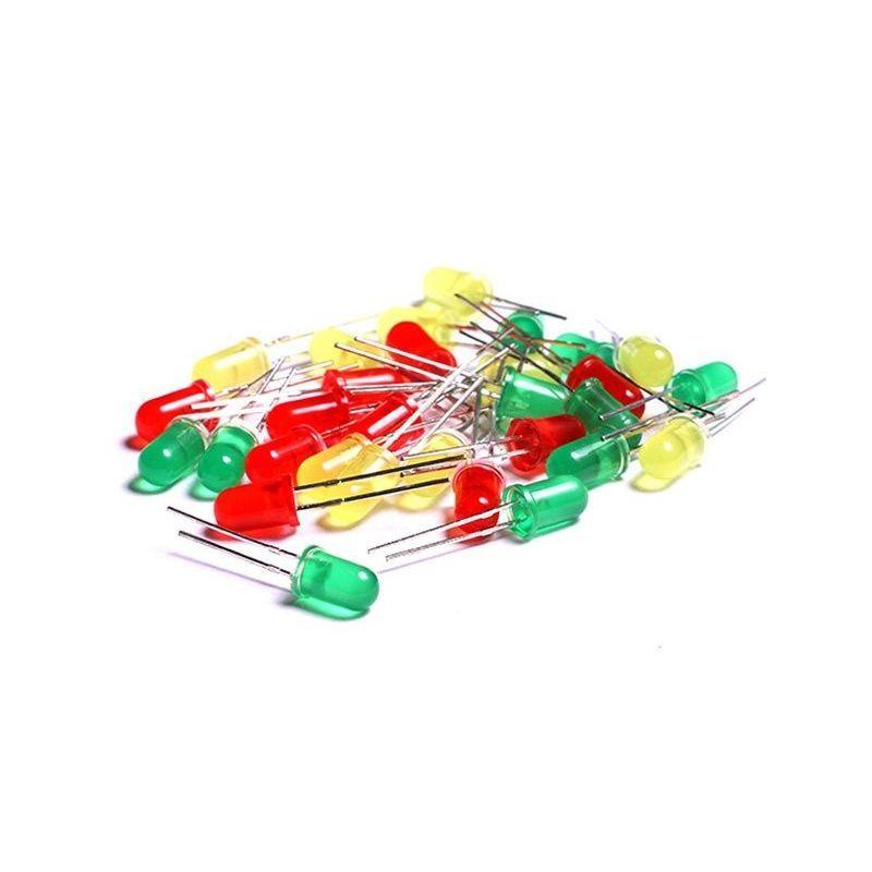 Kit 30 Diodos LED 5mm vermelho, verde e amarelo