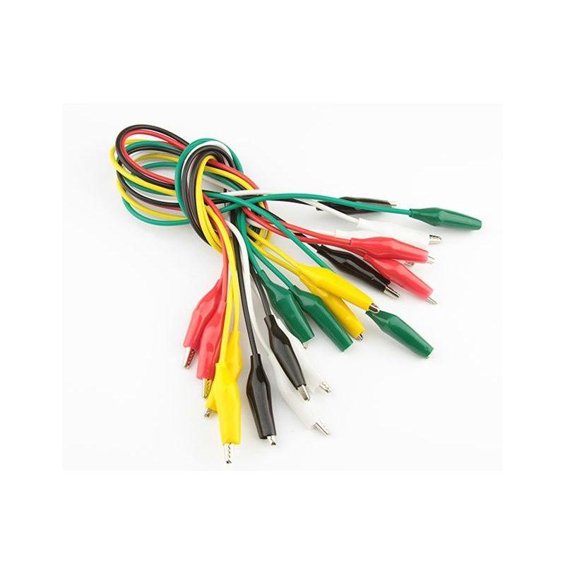 Cables 50cm con Pinzas Cocodrilo pack 10unds