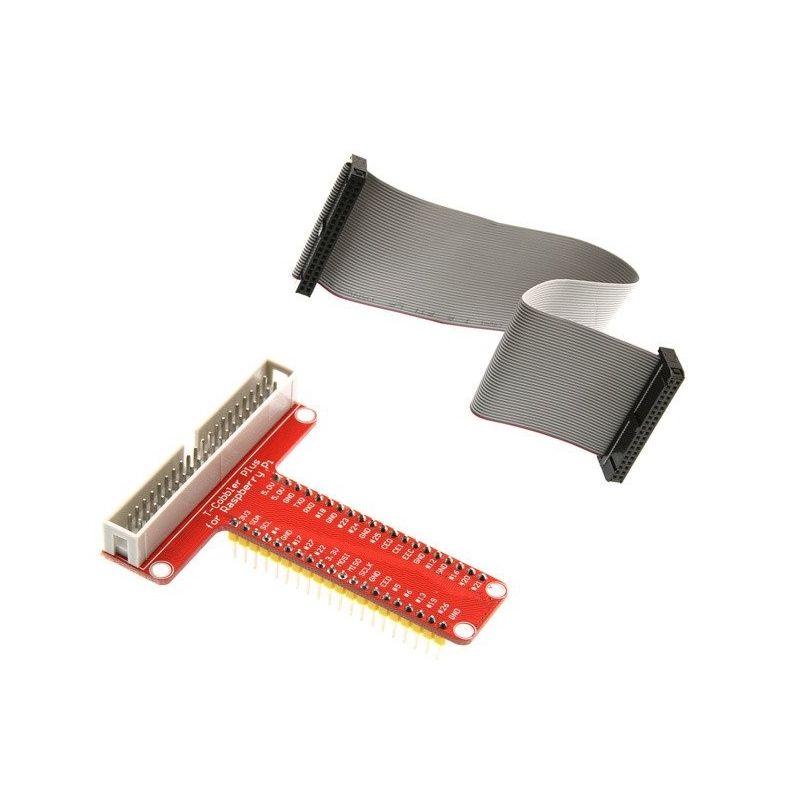 KIT T-Cobbler GPIO + Cable Plano Gris 40 Pin  Raspberry PI B y B+ todas series