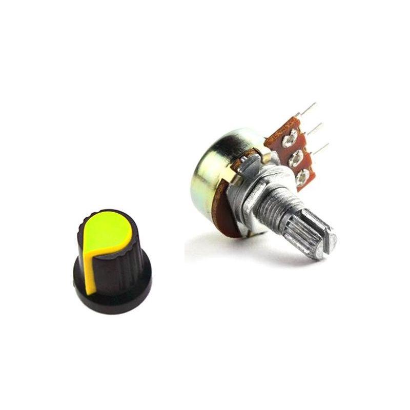 Embellecedor boton amarillo + Potenciometro B10K lineal