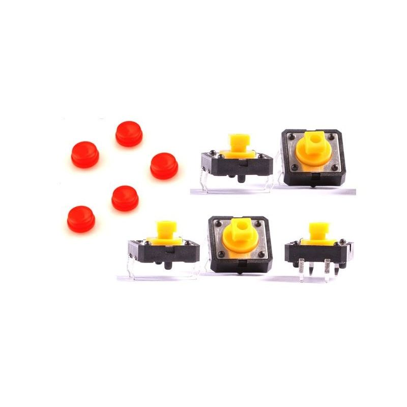 5x Push Switch Button B3F Omron Red Key 12mm