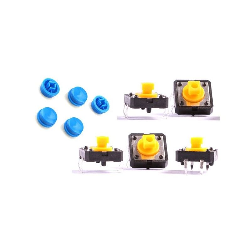 5x Push Switch Button B3F Omron Blue Key 12mm