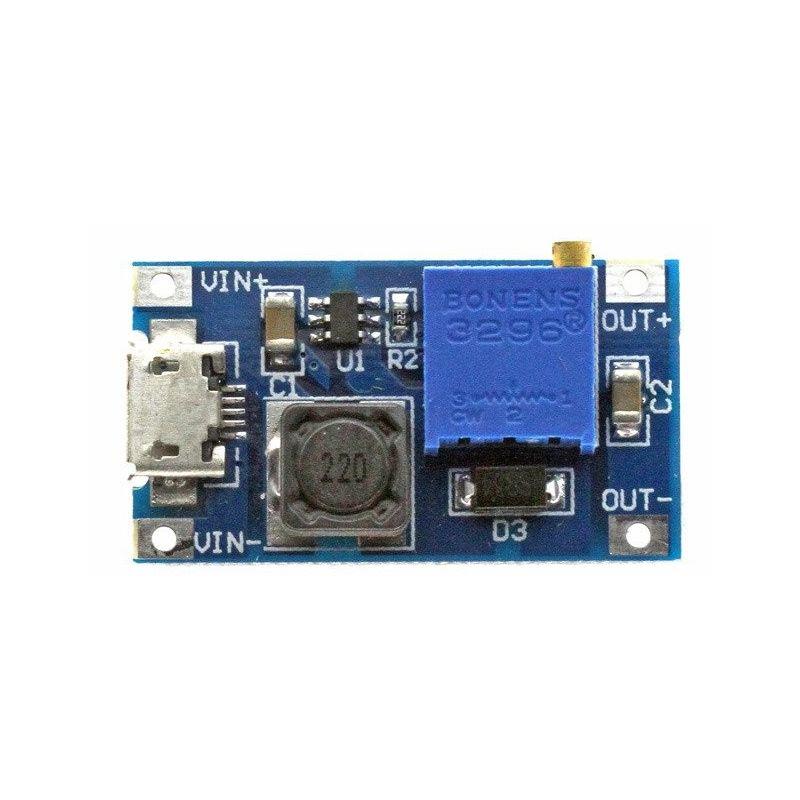 MT3608 Convertidor DC a DC Boost Step-Up 2-24V a 5-28V MicroUSB Regulador de voltaje