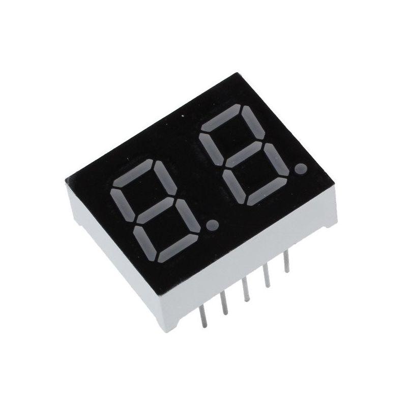 Pantalla LED 2 Dígitos de 7 Segmentos Cátodo Común Rojo
