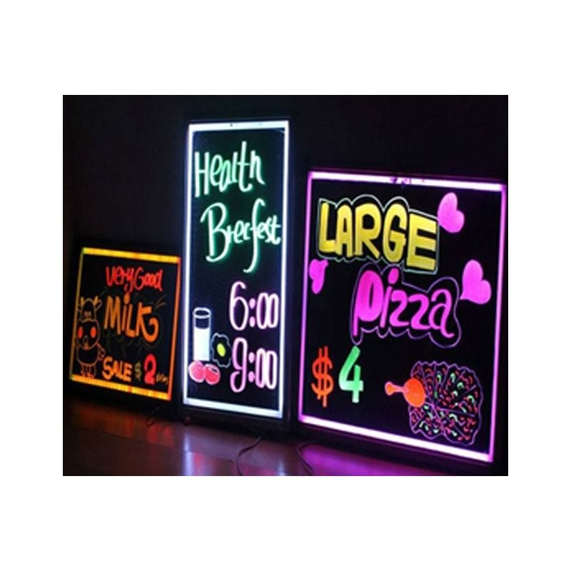 Pizarra LED de Escritura 300x400mm Control Remoto Intermitente Iluminado 8 Neon