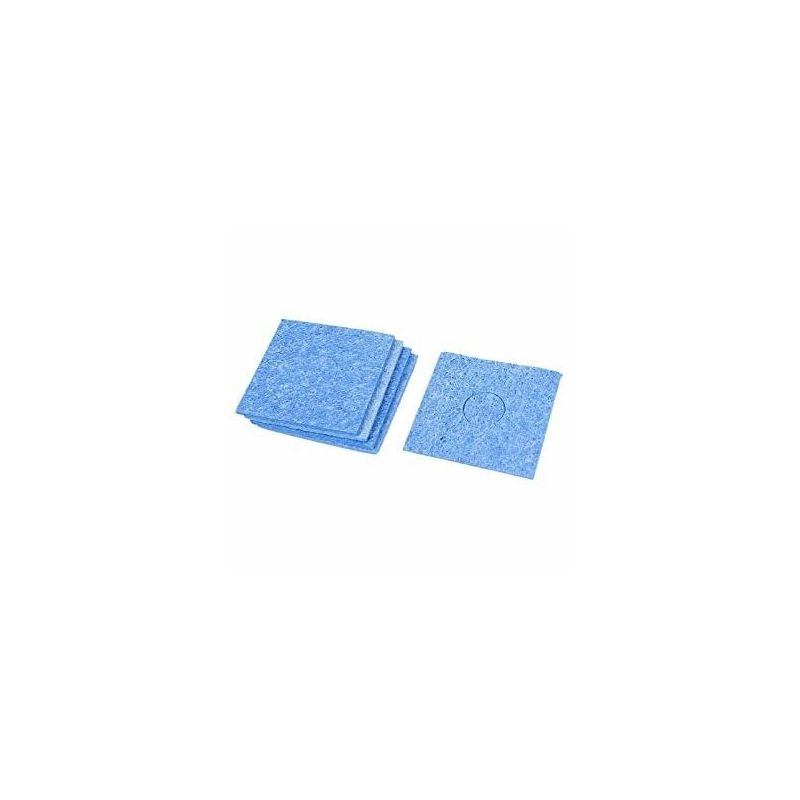 Blue cleaning sponge for soldering iron tip with pre-cut circle at the center