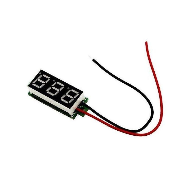 Mini voltmeter with LED display 7 green segments 3 digits 3.5-30 VDC - 1%
