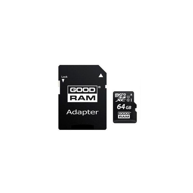 Tarjeta Memoria 64GB Clase 10 MicroSD con adaptador