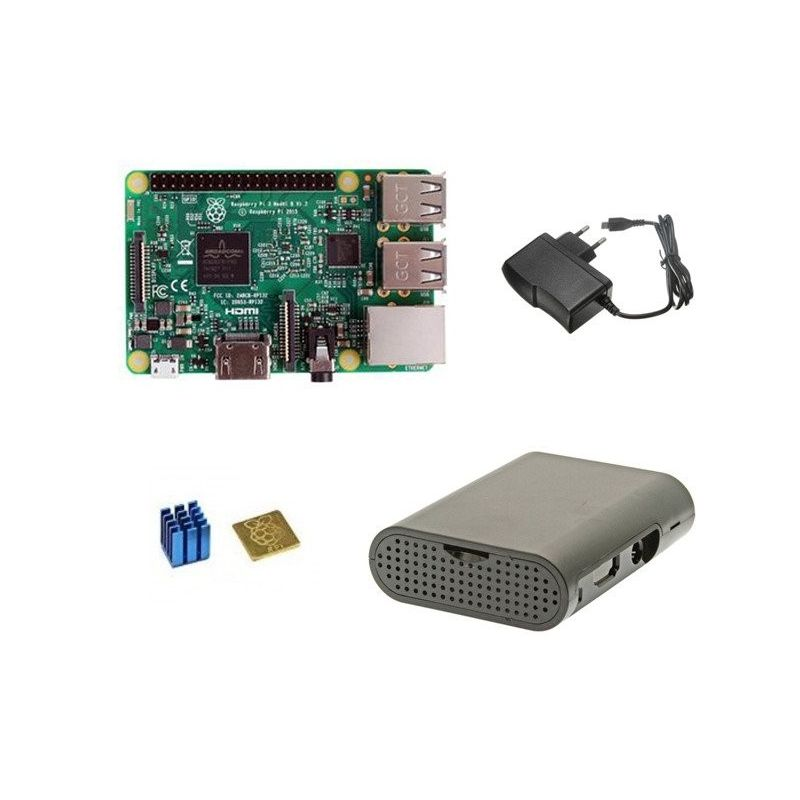 Raspberry Pi 3 Model B Kit power supply and protecting case
