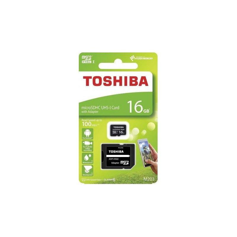 Tarjeta Memoria 16GB Toshiba Clase 10 MicroSD con adaptador