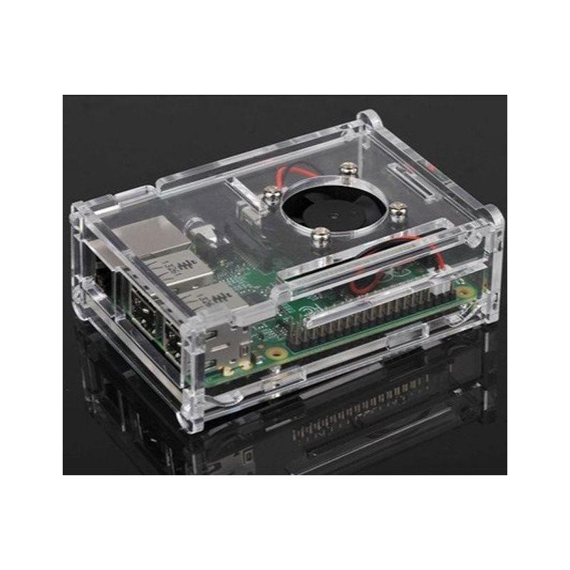 Caja acrílica con ventilador para Raspberry Pi 4 modelo B