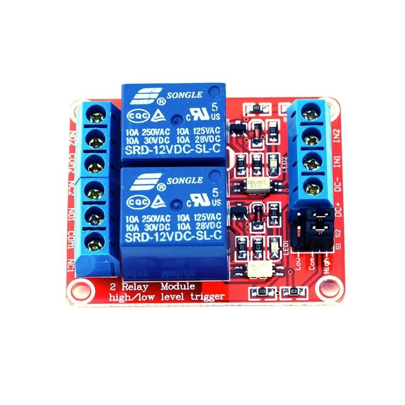 2 Channel Relay Module DC 12V 10A Low/High Trigger for Arduino