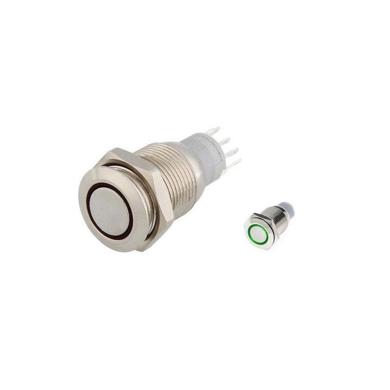 12V Pulsador LED Verde 16mm Momentaneo