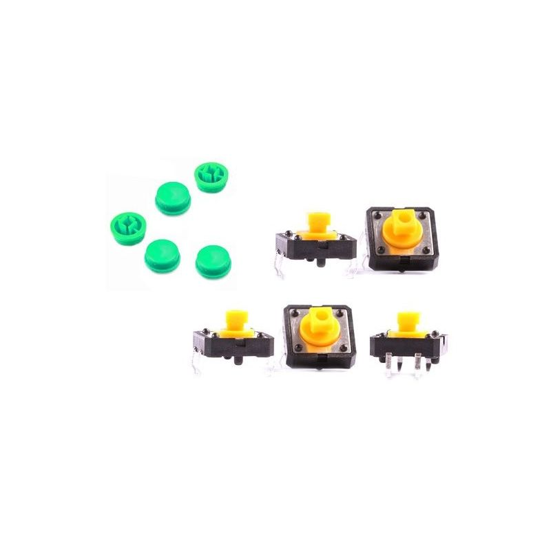 5x Pushbutton B3F Green Key Omron Electronica for Arduino Prototype Switch 12