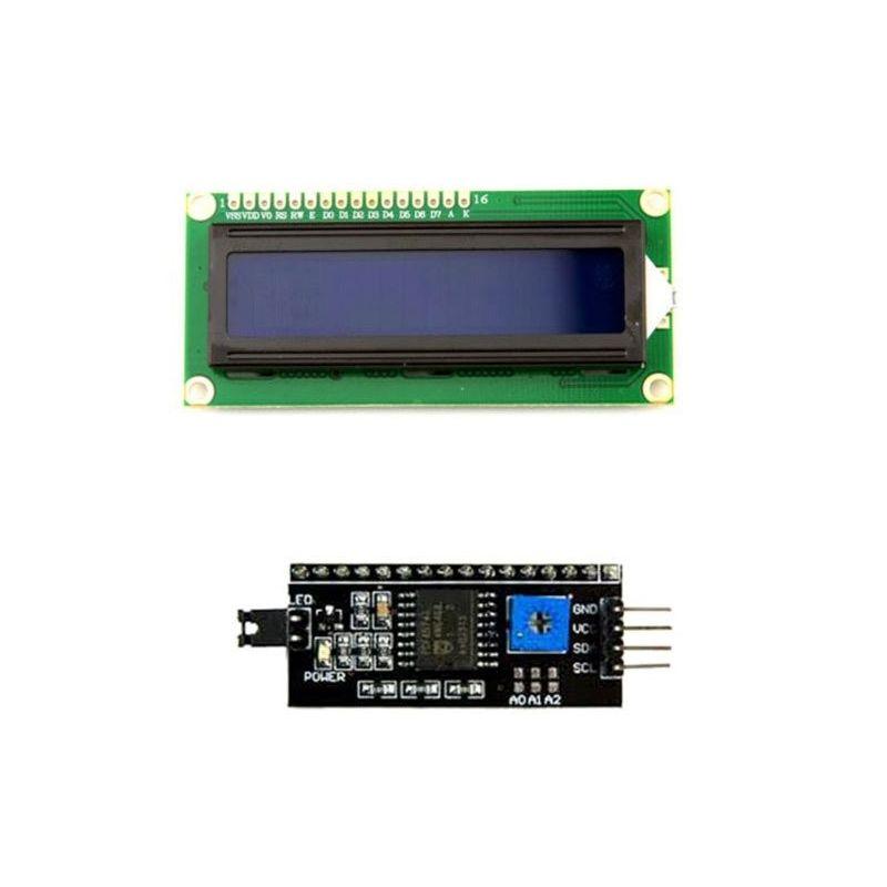 Kit de tela LCD 16x2 Azul 1602 + Adaptador IIC/I2C