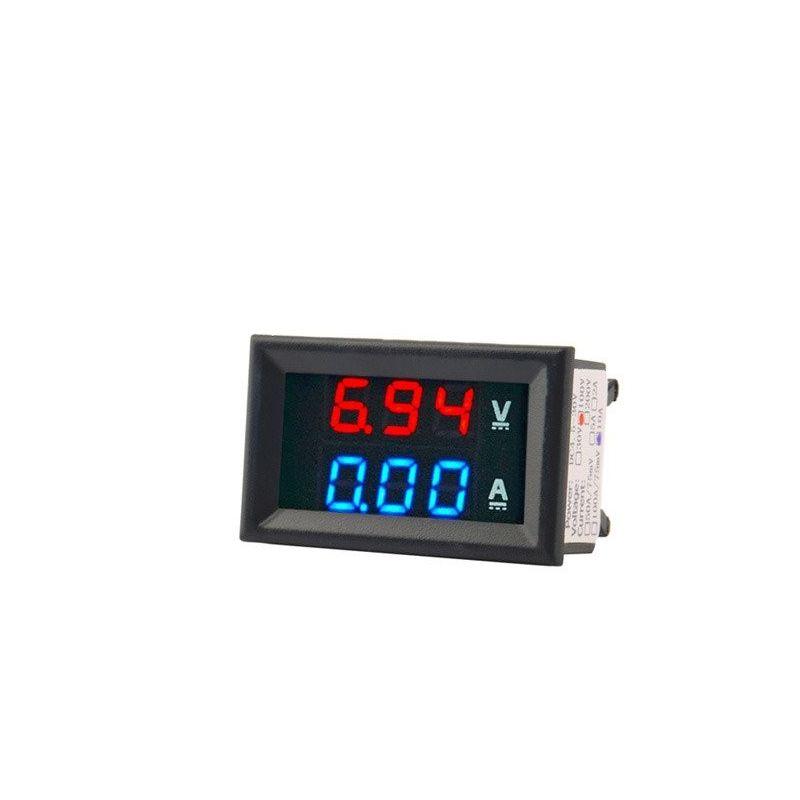 Voltmeter Ammeter 100V 50A Digital DC Red Blue