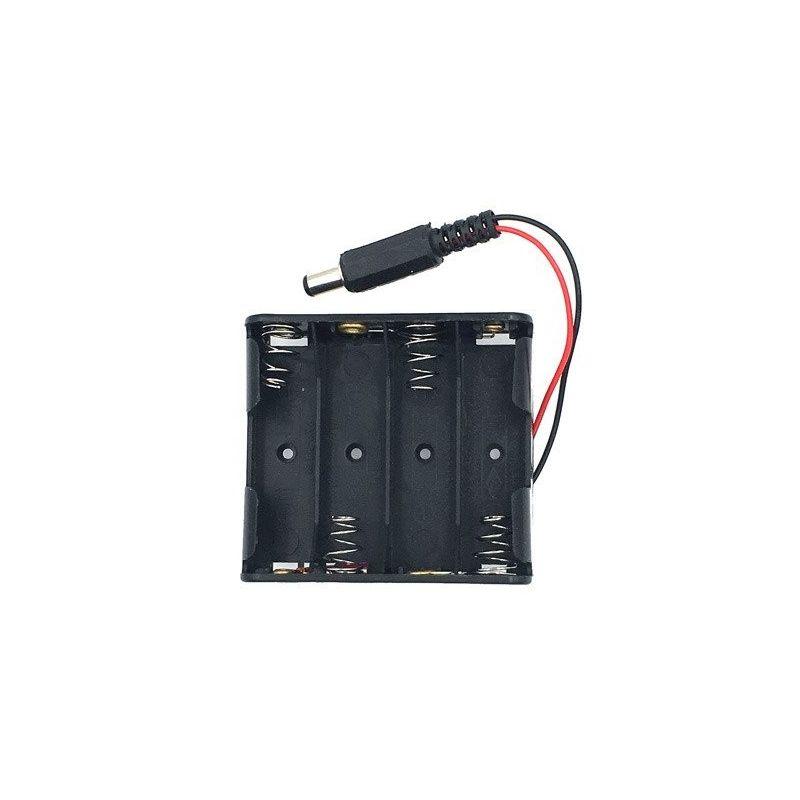 Suporte de bateria 4x AA 4 baterias 6V com conector DC