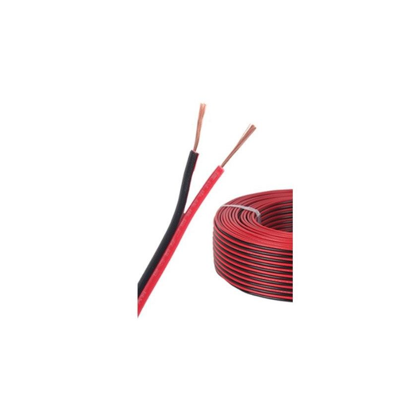 Roll of 100m Double Red Black Flexible PVC Cable - 2x28x0,15mm²