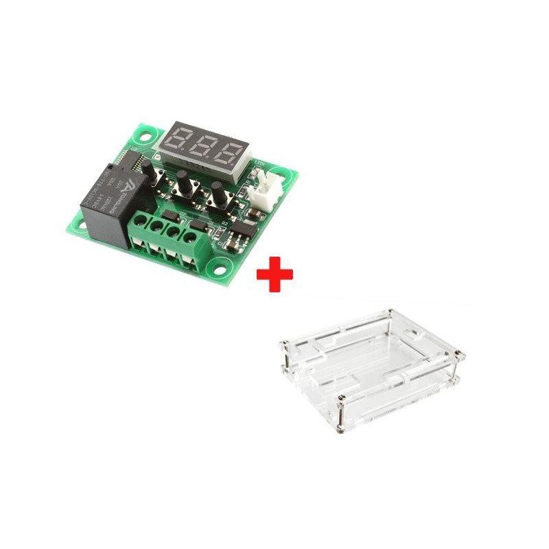 Termostato W1209 DC 12V + Controlador de Temperatura da Caixa Transparente