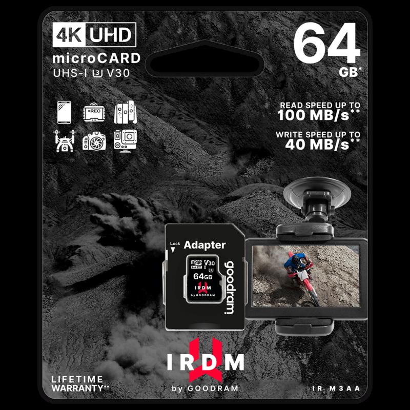 Goodram UHS-I U3 64GB microSD Memory Card with Adapter
