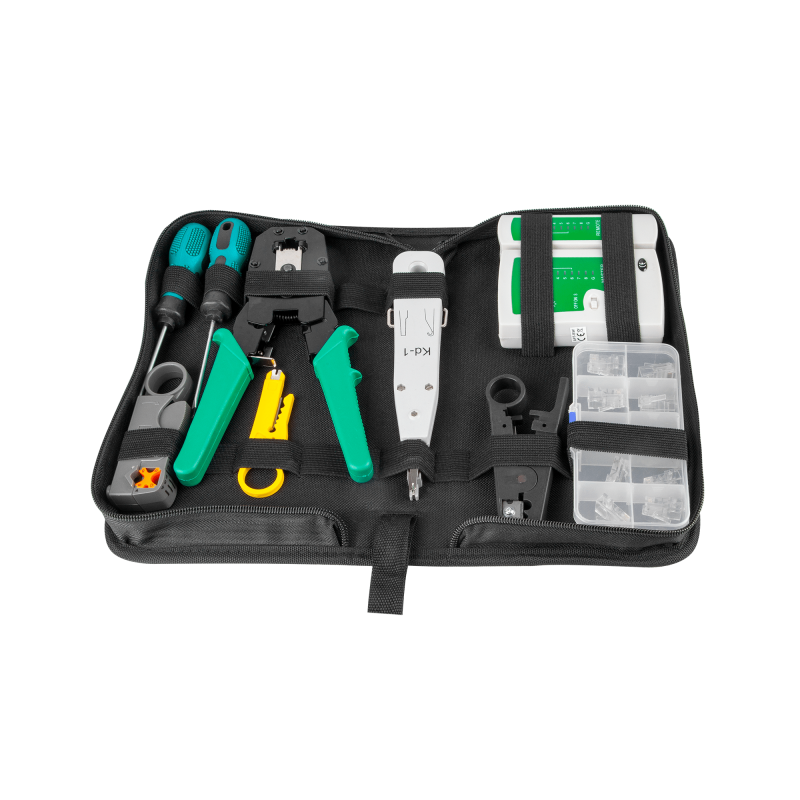 10-piece network cable tool set - Crimper, tester,...