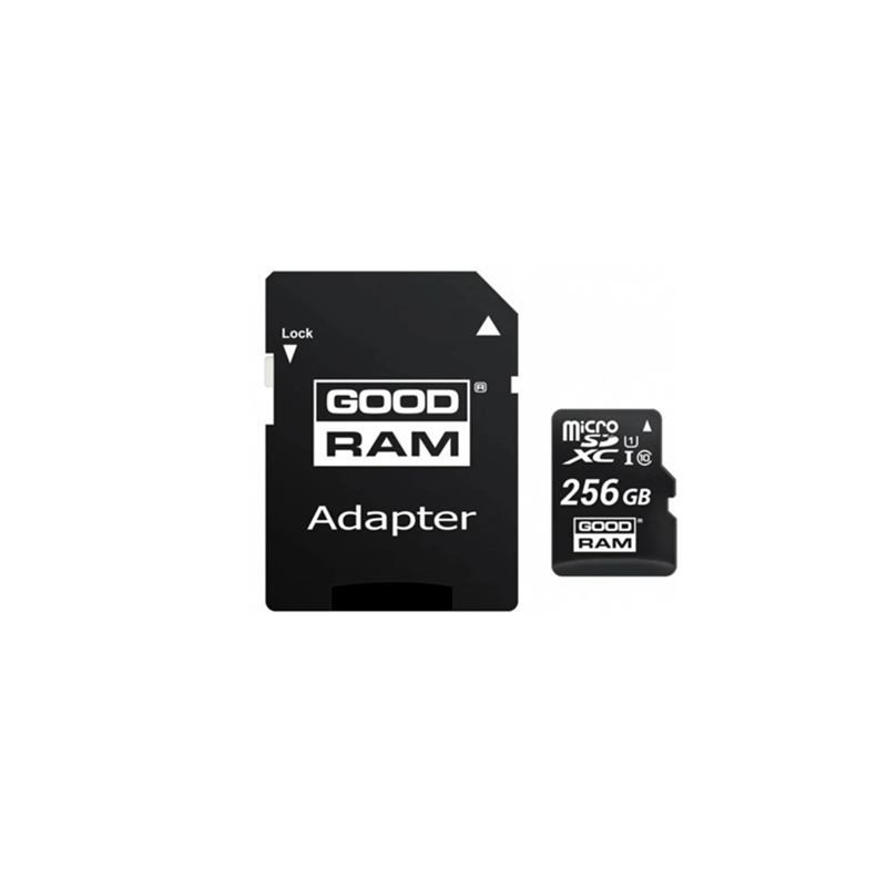 256GB Class 10 MicroSD memory card with adapter