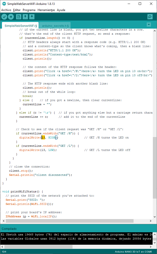 simple web server configuración